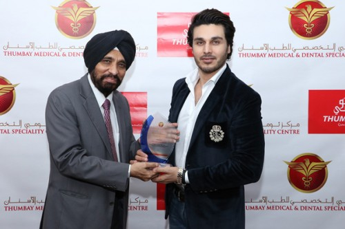 Ahsan Khan greets fans at Thumbay Medical & Dental Specialty Centre