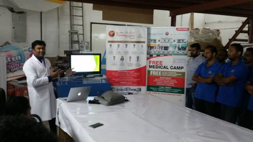 Medical Camp at Al Mithaliyah Printing Press Company by Thumbay Clinic Sharjah