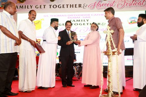 Thumbay Group Founder President Dr. Thumbay Moideen stresses the importance of family values in his keynote address at the Family Get-together & Harvest Festival of St. Thomas Orthodox Cathedral Dubai